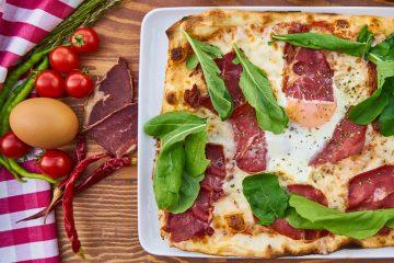 πίτσα προσούτο ζύμη πίτσας εύκολη πίτσα γρήγορη